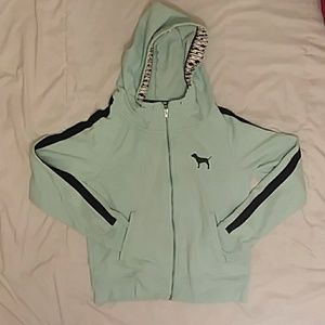 Teal Victoria's Secret PINK Zip Up Hoodie
